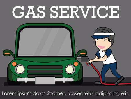 Oilman Service at the gas station. illustration vector concept.