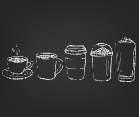 Coffee Drinks cup in hand drawing Style white stripe line on black background. vector illustration style.