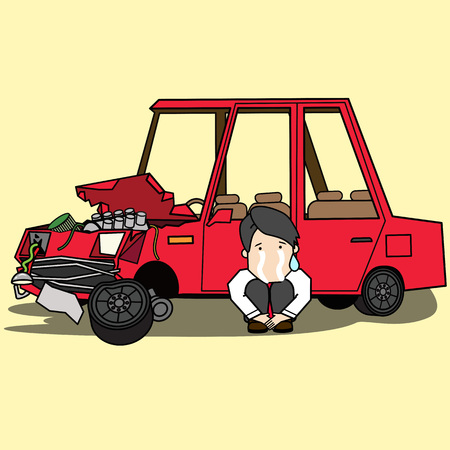 Young man sits crying. Next to the car was demolished. Flat vector illustration design. Illustration