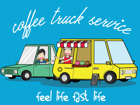 Refilling lifestyle at the service cafe van. Service with a smile. illustration vector concept.