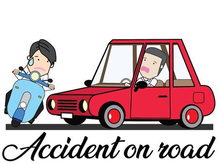 Incidente d'auto e scooter in modalità cartone animato. Concetto di illustrazione vettoriale piatto.