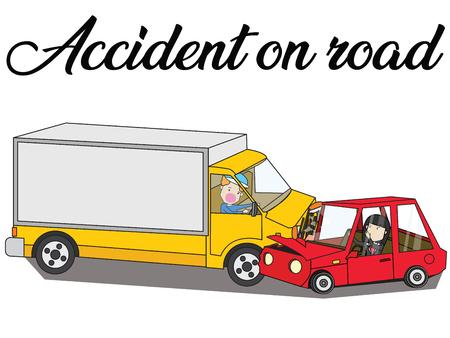 truck and car crash accident on road. Flat vector illustration design. Illustration