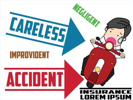 motorcycle side hit with problem. Flat vector illustration design. Ilustração