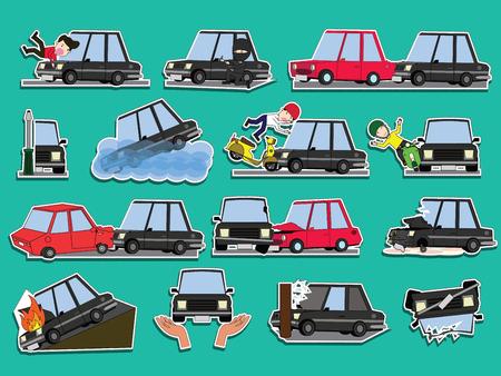 Auto d'incidente sulla strada. Divertente carino piatto illustrazione vettoriale.