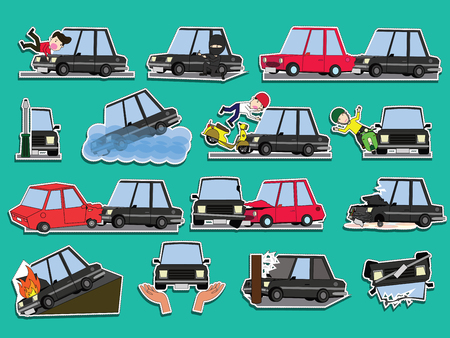 Car of accident on the road. Funny cute flat vector illustration. Vettoriali