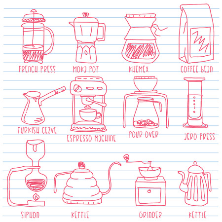 Icons for making coffee in hand drawn concept. Vector flat style.