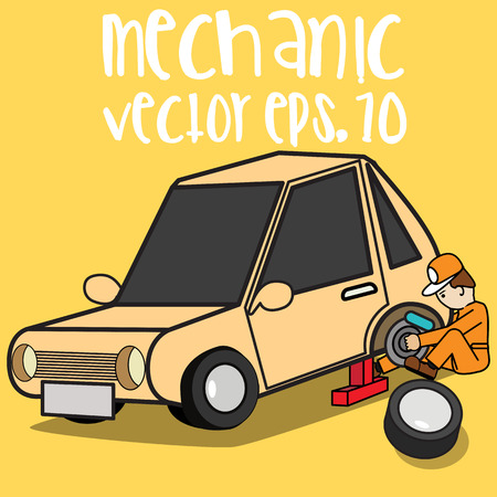 Car mechanic change tire. Flat style 3d vector illustration isolated on background.