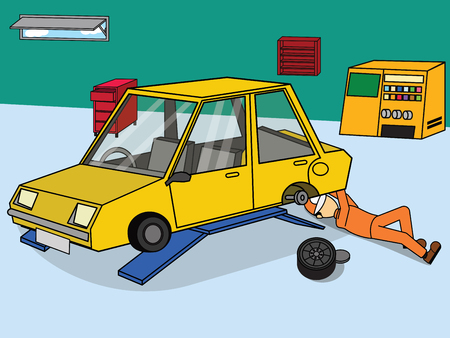 Change wheel and Repair car. Flat vector illustration in cartoon style.