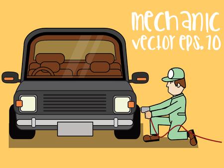 Car repair. Car service. Auto mechanic repair. flat vector illustration  イラスト・ベクター素材