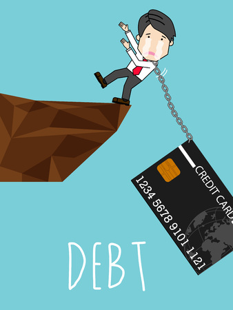 Credit card debt is tied to the neck, employees are fall the cliff. cartoon vector illustration.