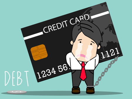 Employee man bear the burden of credit card debt. with sad. cartoon vector illustration.