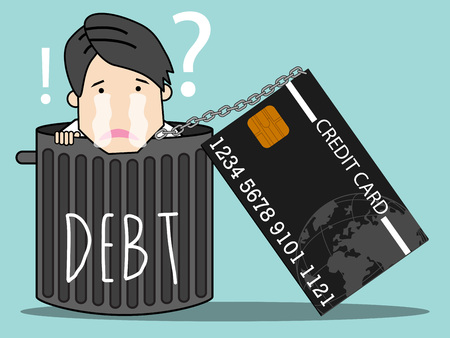 Employee is dropped into the trash and has a credit card struck neck. cartoon vector illustration.