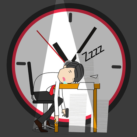 Business man sleeping at his office desk. Funny vector illustrator concept. Standard-Bild - 109811657