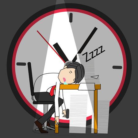 Hombre de negocios durmiendo en su escritorio de oficina. Concepto de ilustrador de vector divertido.