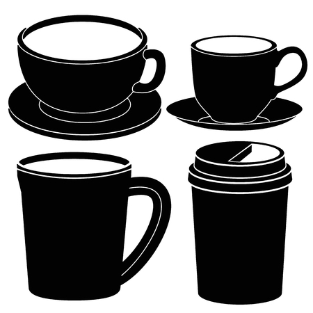 Coffee cup icon. Hot drinks glasses symbols. Take away or take-out tea beverage signs