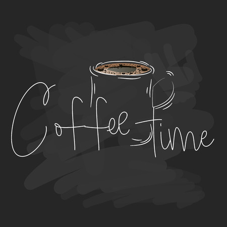 coffee mug painted by hand on a chalkboard. Vector illustration design.