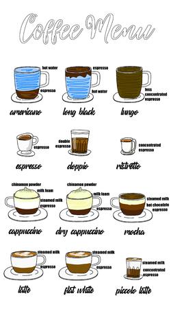 Menú de café con tazas de bebidas de café en estilo de dibujo a mano en dos tonos. Estilo de ilustración vectorial. Ilustración de vector