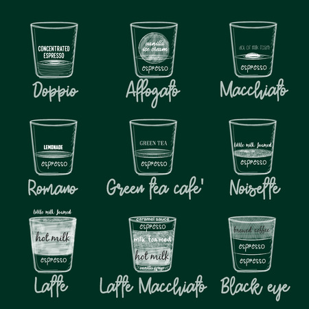 Different coffee in vintage style drawing with chalk on the blackboard. Ilustração