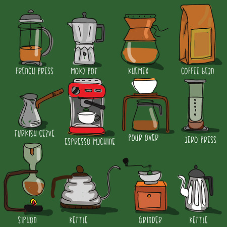 Icons for making coffee in the form of doodles. Vector flat style. Illusztráció