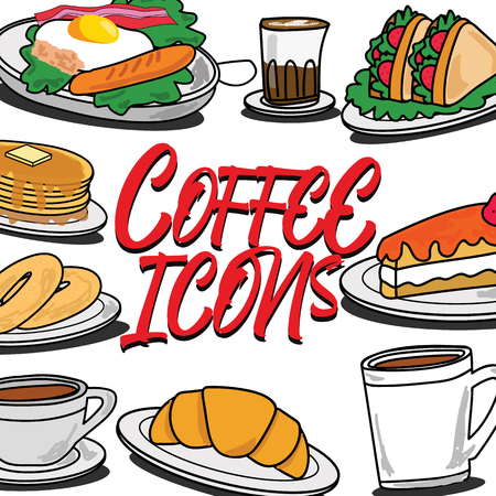 Icons for cafe and breakfasts in cartoon style. Vector illustration design. Illusztráció