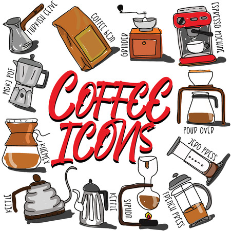 Icons coffee in the form of card. Vector flat style.