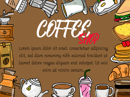 wide card coffee advertising. Vector flat style.