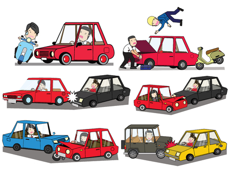 car crash and accident on road. Flat vector illustration design. Stock Illustratie