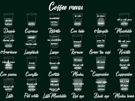 Coffee Menu with Cups of Coffee Drinks in hand drawing Style on two tone. Vector illustration style Illustration