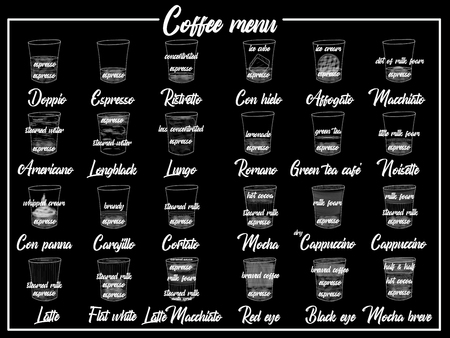 Coffee Menu with Cups of Coffee Drinks in hand drawing Style on two tone. Vector illustration style Illusztráció