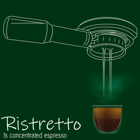 Portafilter drawing by hand with white stripe line and moimagery vector style on blackboard