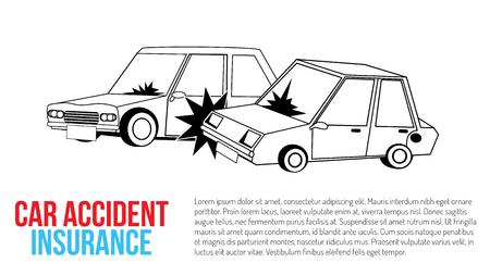 car crash and accident on road. Flat vector illustration design. Ilustração