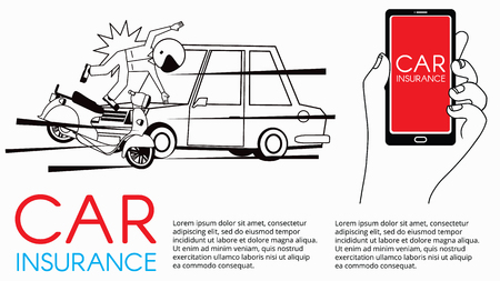 Man and motorcycle collide with front of car radically. vector for insurance card design