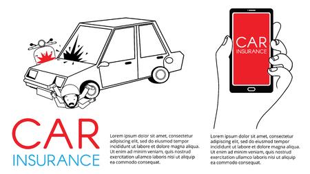 Card of insurance car crash with Scooter. Flat vector illustration design. Ilustração