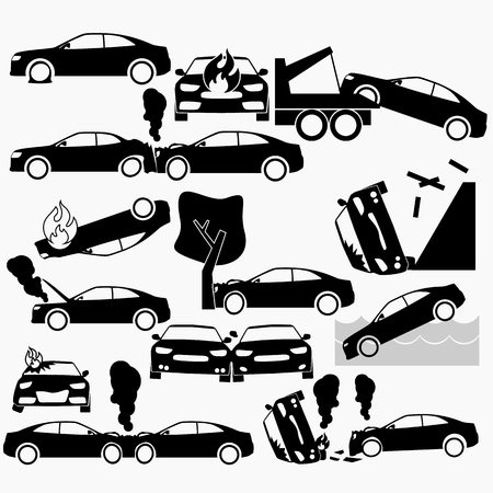 Car crash and accidents on silhouette icons set. Flat vector.