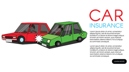 car crash and accident on road. Flat vector illustration design. Çizim
