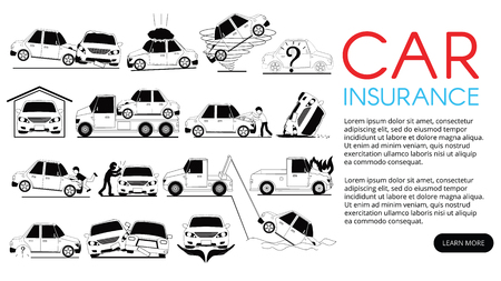 Car crash and accidents on card icons set. Flat vector for insurance service. Ilustração