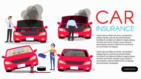 Man standing near broken car and confused. Vector flat cartoon illustration