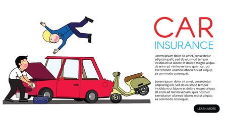 moto colpita alla schiena con auto privata. Disegno di illustrazione vettoriale piatto.