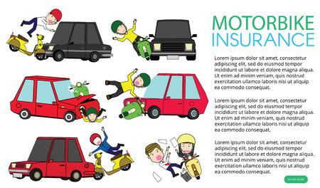 incidente in moto con auto privata. Disegno di illustrazione vettoriale piatto. Vettoriali