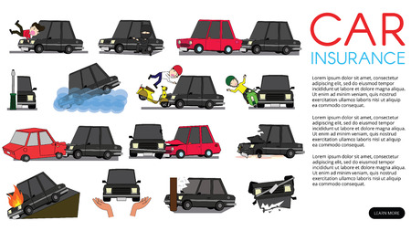 Horizontal view driver car of accident on the road. Funny cute flat vector illustration.