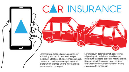 Illustration of polygon cars involved in a car wreck. Simple flat vector style.
