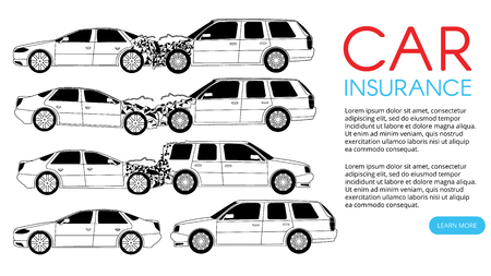 car crash and accident on road. Flat vector illustration design. Çizim