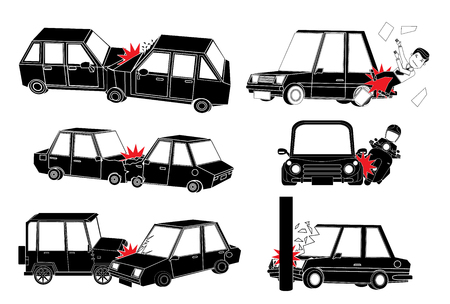 car crash and accident on road. Flat vector illustration design. Illustration