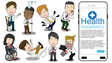 Employee injured hard work funny cartoon isolated on background. Flat vector concept.