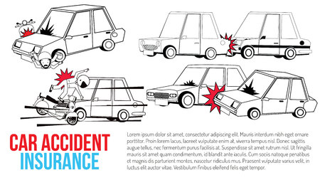 car crash and accident on road. Flat vector illustration design. Фото со стока - 120782436