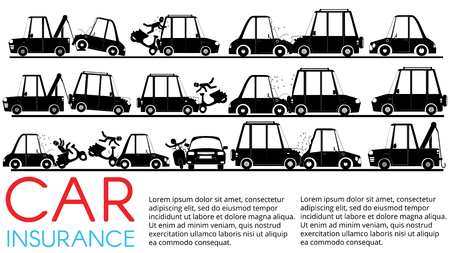 Shape of accident with car in silhouette set. Flat vector concept.