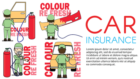Set of worker Spraying colour on car part. Flat vector illustration concept.