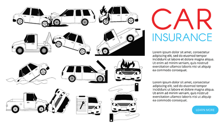 Car crash and accidents on the road icons set outline concept.
