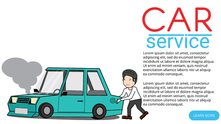 Young man pushed the car can not drive. With tiredness. Flat vector illustration design.