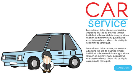 Young man sits crying. Next to the car was demolished. Flat vector illustration design. Çizim